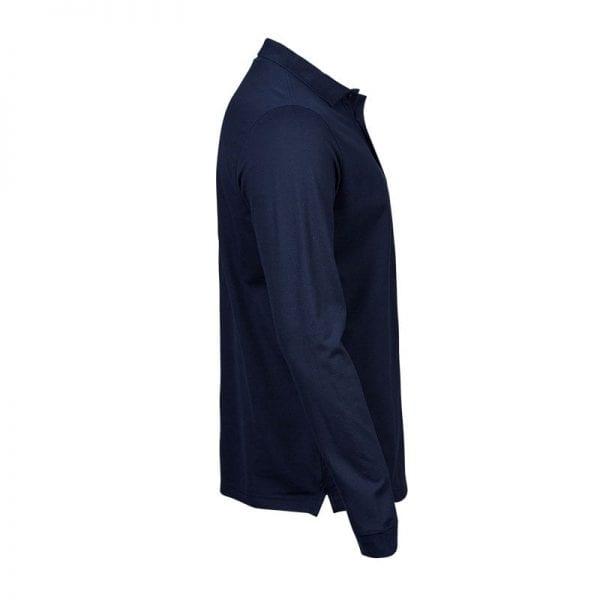 Langærmet polo fra Tee Jays i god kvalitet, navy blå fra siden