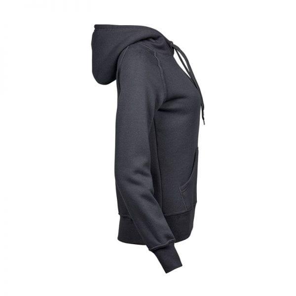 Sweatshirt hoodie til kvinder i mørke grå fra Tee Jays set fra siden