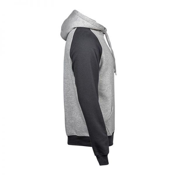 Sweatshirt fra Tee Jays - Heather Hoodie i et mix af lys og mørkegrå - set fra siden
