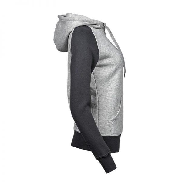 Sweatshirt fra Tee Jays - Heather Hoodie i et mix af lys og mørkegrå - set fra siden til kvinder