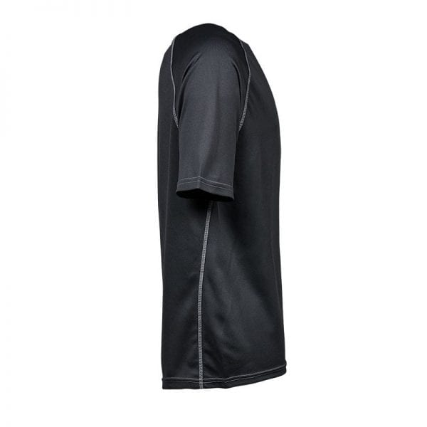 Løbe tshirt fra Tee Jays i mørk grå med lyse detaljer i syningerne