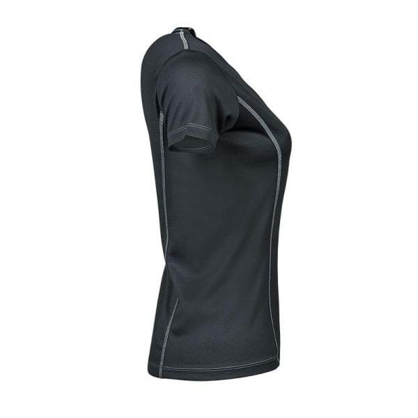 Mørke grå løbe tshirt med lyse detaljer i syningerne, Tee Jays kvindemodel