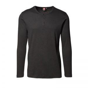 ID1x1 rib granddad t-shirt i bomuld, mande model, sort farve, set forfra
