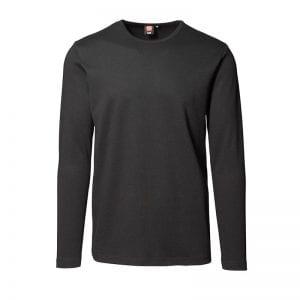 ID interlock langærmet t-shirt, bomuld, mande model, sort farve, set forfra