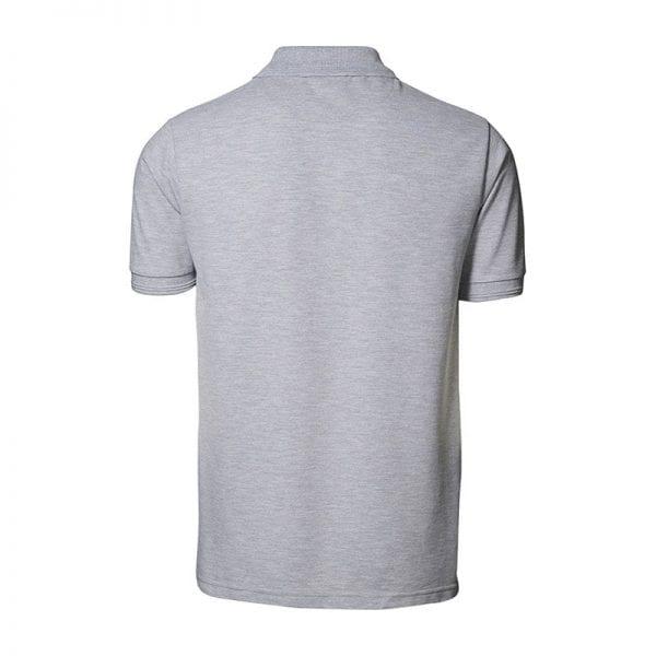 ID Pro Wear poloshirt, kortærmet klassisk polo, farve grå melange, mande model, set bagfra