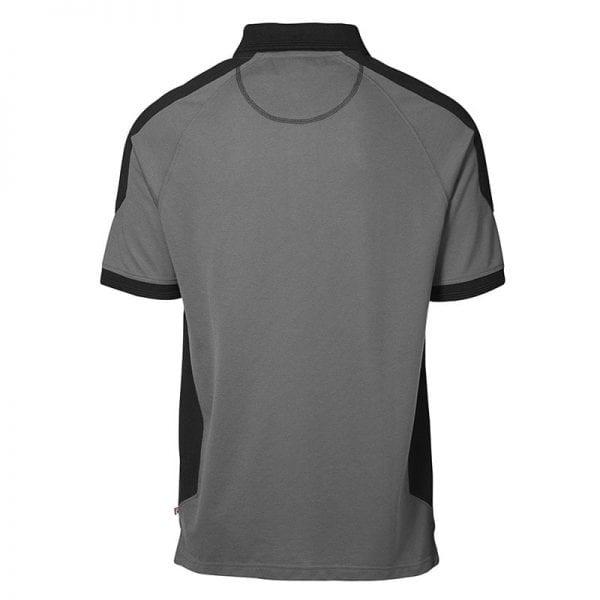 ID Pro Wear poloshirt, kortærmet klassisk to-farvet polo, farve silver grey, mande model, set fra bagfra
