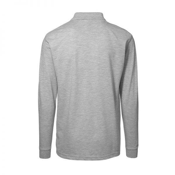 ID Pro Wear polo, langærmet polo med lomme, farve grå melange, mande model. Set bagfra