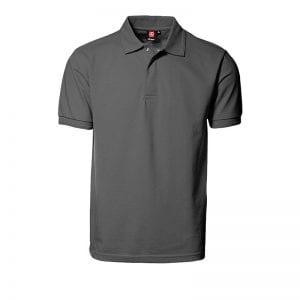 ID Pro Wear polo, kortærmet polo med trykknap, farve silver grey, set forfra, mande model