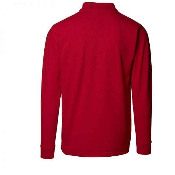 ID Pro Wear polo, langærmet polo med trykknap, farve rød, mande model. Set bagfra