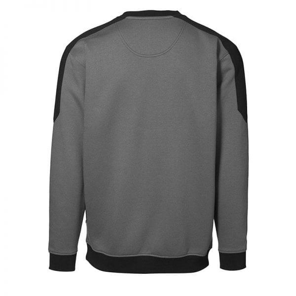 ID Pro Wear sweatshirt, ekstra slidstærk to-farvet, farve hvid silver grey, mande model. Set bagfra