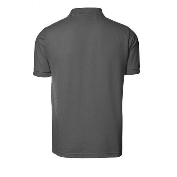 ID Pro Wear poloshirt, kortærmet klassisk polo uden lomme, farve silver gret, mande model, set bagfra