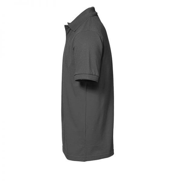 ID Pro Wear polo, kortærmet polo med trykknap, farve silver grey, mande model. Set sidefra