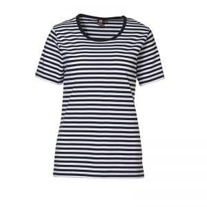 ID Pro Wear t-shirt, kortærmet t-shirt, garnfarvet striber, Navy med hvid, dame model