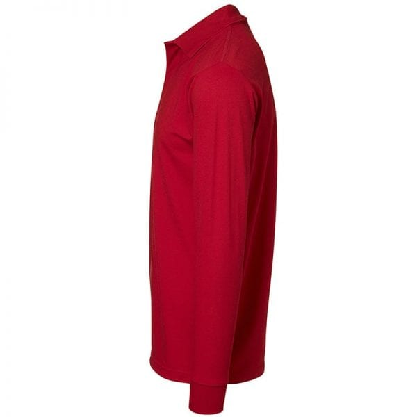 ID Pro Wear polo, langærmet polo med trykknap, farve rød, mande model. Set fra siden