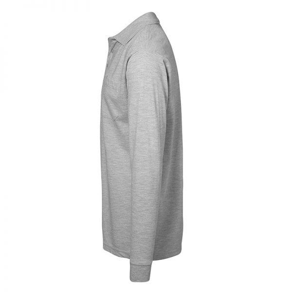 ID Pro Wear polo, langærmet polo med lomme, farve grå melange, mande mode, set fra siden