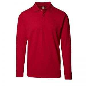 ID Pro Wear polo, langærmet polo med trykknap, farve rød, mande model