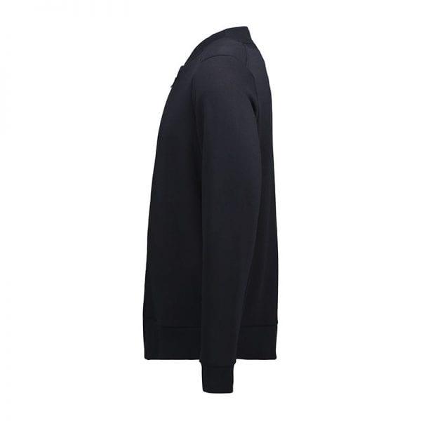 ID Pro Wear cardigan, slidstærk kvalitet, farve navy, mande model. anskuet fra siden.