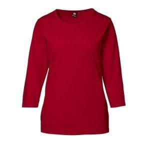 ID Pro Wear t-shirt, slidsstærk langærmet t-shirt, rød farve, dame model, set forfra