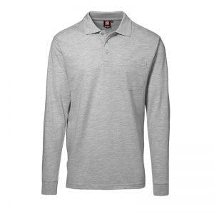 ID Pro Wear polo, langærmet polo med lomme, farve grå melange, mande model. Set forfra