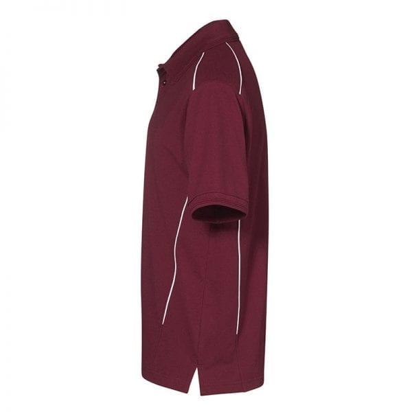 ID Pro Wear poloshirt, kortærmet med pipings, farve bordeaux, mande model, set bagfra