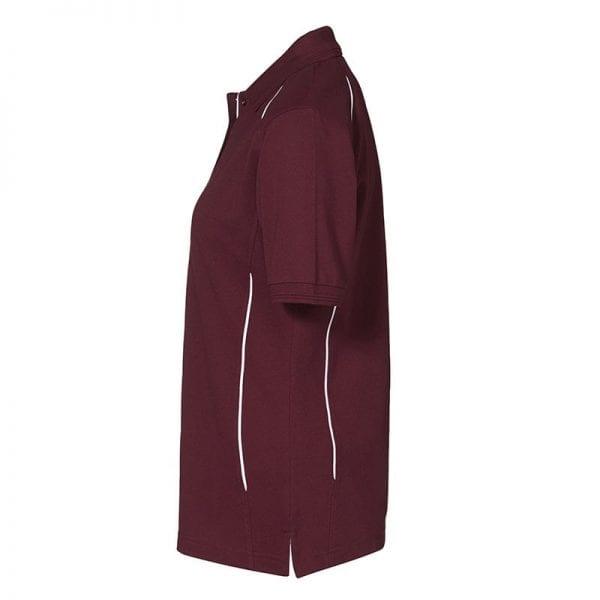 ID Pro Wear poloshirt, kortærmet med pipings, farve bordeaux, dame model, set fra siden