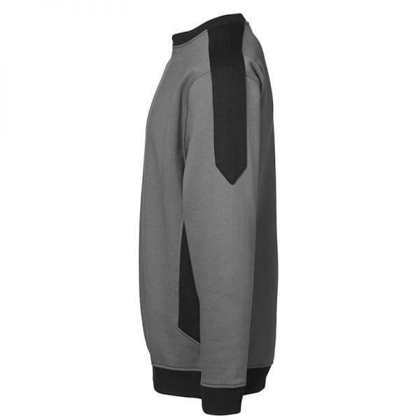 ID Pro Wear sweatshirt, ekstra slidstærk to-farvet, farve silver grey, mande model. set fra siden