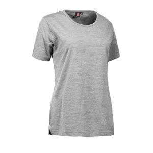 ID Pro Wear t-shirt, slidsstærk kortærmet, grå melange farve, dame model, set forfra