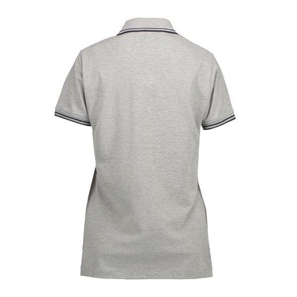 ID identity stretch contrast poloshirt med konstraststriber, dame model, grå melange med sort farve, set bagfra