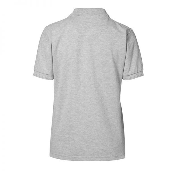 ID Pro Wear poloshirt, kortærmet klassisk polo, farve grå melange, dame model, set bagfra