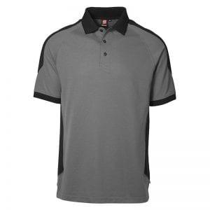 ID Pro Wear poloshirt, kortærmet klassisk to-farvet polo, farve silver grey med sort, mande model