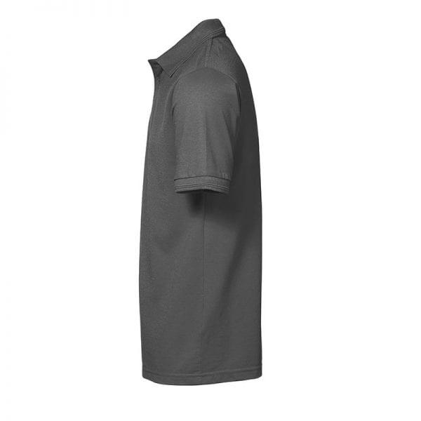 ID Pro Wear poloshirt, kortærmet klassisk polo uden lomme, farve silver grey, mande model. Set fra siden
