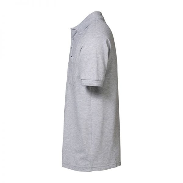 ID Pro Wear poloshirt, kortærmet klassisk polo, farve grå melange, mande model, set fra siden