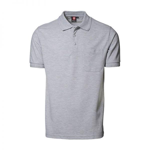 ID Pro Wear poloshirt, kortærmet klassisk polo, farve grå melange, mande model