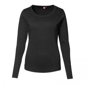 ID interlock langærmet dame t-shirt, bomuld, dame model, sort farve, set forfra
