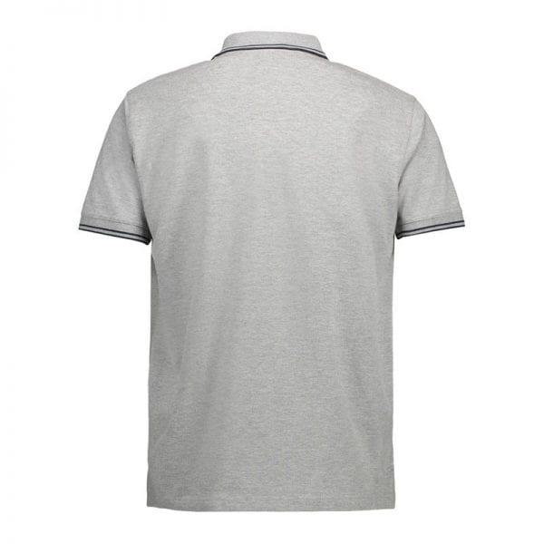 ID identity stretch contrast poloshirt med konstraststriber, mande model, grå melange med sort farve, set bagfra