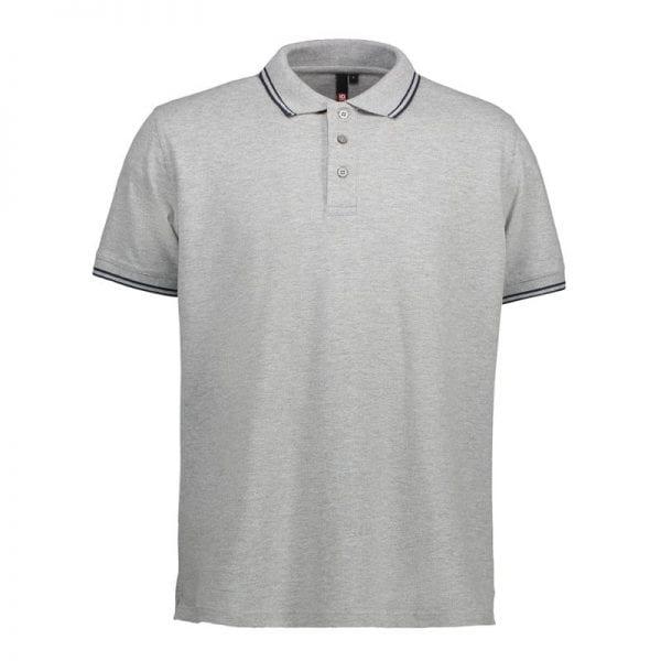ID identity stretch contrast poloshirt med konstraststriber, mande model, grå melange med sort farve