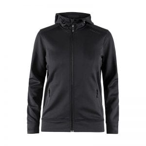 CRAFT Noble Full Zip Hoodie, til kvinder sweatshirt med lynlåsdetalje foran og hætte bagtil. Farven sort