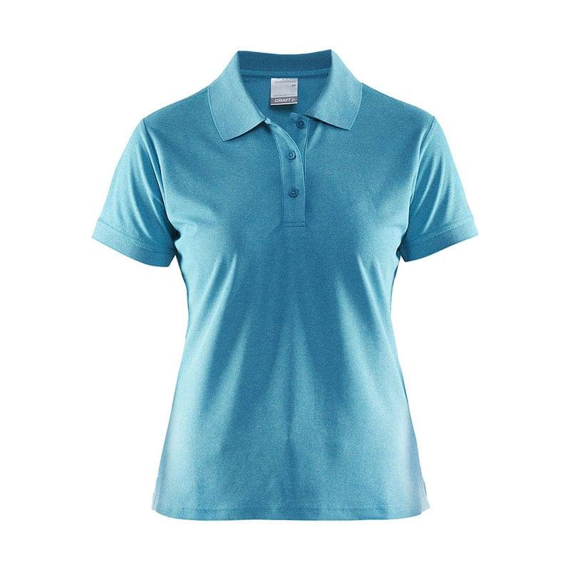 CRAFT Polo Shirt Pique Classic, poloshirt med tre knapper på brystet, detaljer ved ærmerne, semi figursyet. Kvindemodel i Gale melange