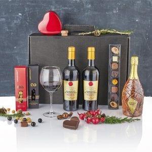 Sort gaveæske rødvin, mousserende vin, chokolade kugler, chokolade hjerter og gourmet chokolade firkanter PR chokolade