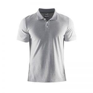 Craft ''In the Zone Pique'' Poloshirt. Denne polo ses her i lys grå med hvid detalje på kraven.