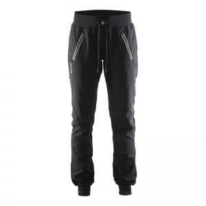 Craft ''In the Zone Sweatpants '' til kvinder - denne sweat buks har en hvid lynlåsdetalje på lommerne og gør det godt som aktiv buks eller slap af bukser. Bred kant i toppen - sort model