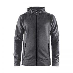 CRAFT Noble Full Zip Hoodie, sweatshirt med lynlåsdetalje foran og hætte bagtil. Grå melange model