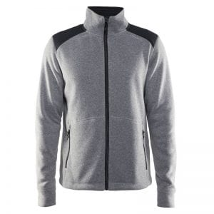 CRAFT Noble Zip Fleece, Fleecetrøje med lynlås foran og detaljer på skuldrene. Holder godt på varmen. Lys grå med sorte detaljer model