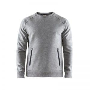 CRAFT Emotion Crew Sweatshirt, lækker sweat med lynlåsdetalje foran på lommerne. Herremodel lys grå med sorte detaljer