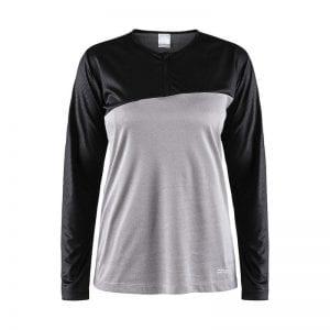 CRAFT Radiate Tee, langærmet kvindemodel, to farvet løbe t-shirt med lynlåsdetalje. Egner sig godt til aktivitet af alle typer. Sort og lys grå model