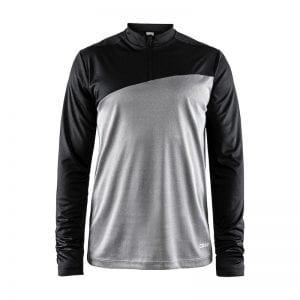 CRAFT Radiate Tee, langærmet herremodel, to farvet løbe t-shirt med lynlåsdetalje. Egner sig godt til aktivitet af alle typer. Sort og lys grå model