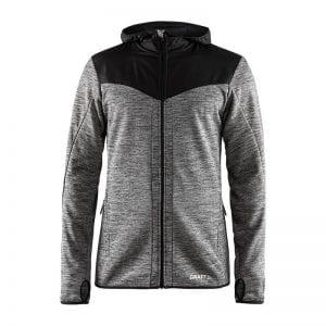 CRAFT Breakaway Jersey Jacket, vind breaker jakke i grå melange med sorte detaljer og hætte.