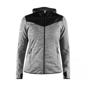 CRAFT Breakaway Jersey Jacket, vind breaker jakke i grå melange med sorte detaljer og hætte. Kvindemodel