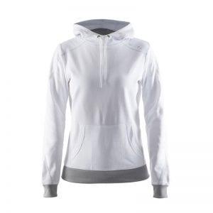 Craft ''In the Zone Hoodie'' sweatshirt med hætte og snørrebånd til at stramme den ind. Lomme på maven. Hættetrøje i hvid med lys grå detalje