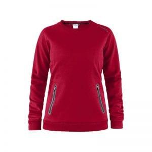 CRAFT Emotion Crew Sweatshirt, lækker sweat med lynlåsdetalje foran på lommerne. Kvindemodel rød